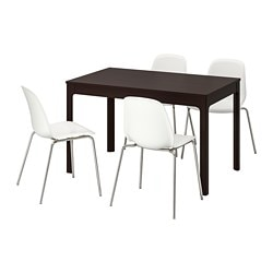 EKEDALEN / LEIFARNE, Table and 4 chairs, dark brown, white