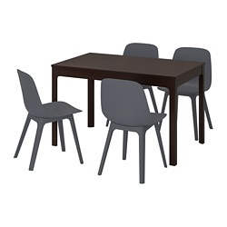 EKEDALEN / ODGER, Table and 4 chairs, dark brown, blue