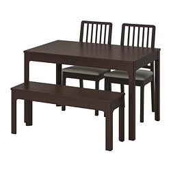 EKEDALEN / EKEDALEN, Table with 2 chairs and bench, dark brown, Orrsta light grey