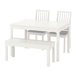 "EKEDALEN /  EKEDALEN table with 2 chairs and bench, white, Orrsta light gray Table min. length: 47 1/4 "" Table max. length: 70 7/8 "" Table min. length: 120 cm Table max. length: 180 cm"