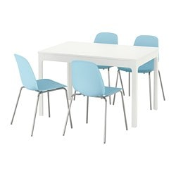 EKEDALEN / LEIFARNE, Table and 4 chairs, white, light blue