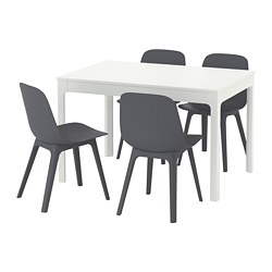 EKEDALEN / ODGER, Table and 4 chairs, white, blue