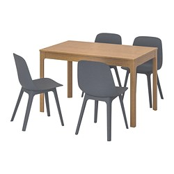 EKEDALEN /  ODGER table and 4 chairs, oak, blue