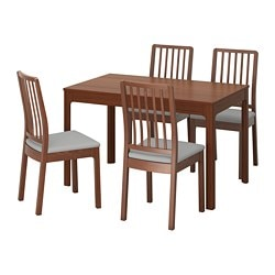 EKEDALEN / EKEDALEN, Table and 4 chairs, brown, Orrsta light gray
