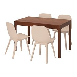 EKEDALEN /  ODGER table and 4 chairs, brown, white beige