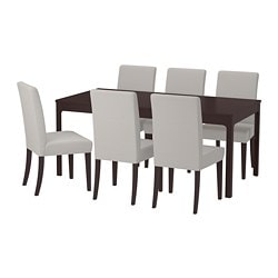 EKEDALEN /  HENRIKSDAL table and 6 chairs, dark brown, Orrsta light grey