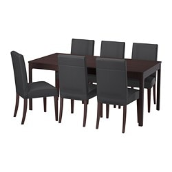 EKEDALEN / HENRIKSDAL, Table and 6 chairs, dark brown, Glose black