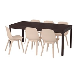 EKEDALEN / ODGER, Table and 6 chairs, dark brown, white beige