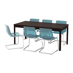 EKEDALEN / TOBIAS, Table and 6 chairs, dark brown, blue