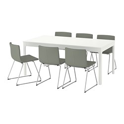 EKEDALEN / BERNHARD, Table and 6 chairs, white