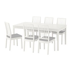EKEDALEN / EKEDALEN, Table and 6 chairs, white, Orrsta light grey
