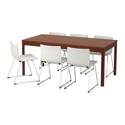 EKEDALEN /  BERNHARD table and 6 chairs, brown, Mjuk white