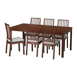 EKEDALEN /  EKEDALEN table and 6 chairs, brown, Orrsta light grey