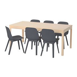 EKEDALEN /  ODGER table and 6 chairs, birch, blue