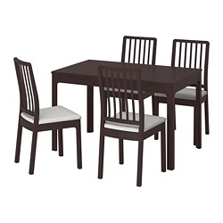 EKEDALEN / EKEDALEN, Table and 4 chairs, dark brown, Orrsta light grey