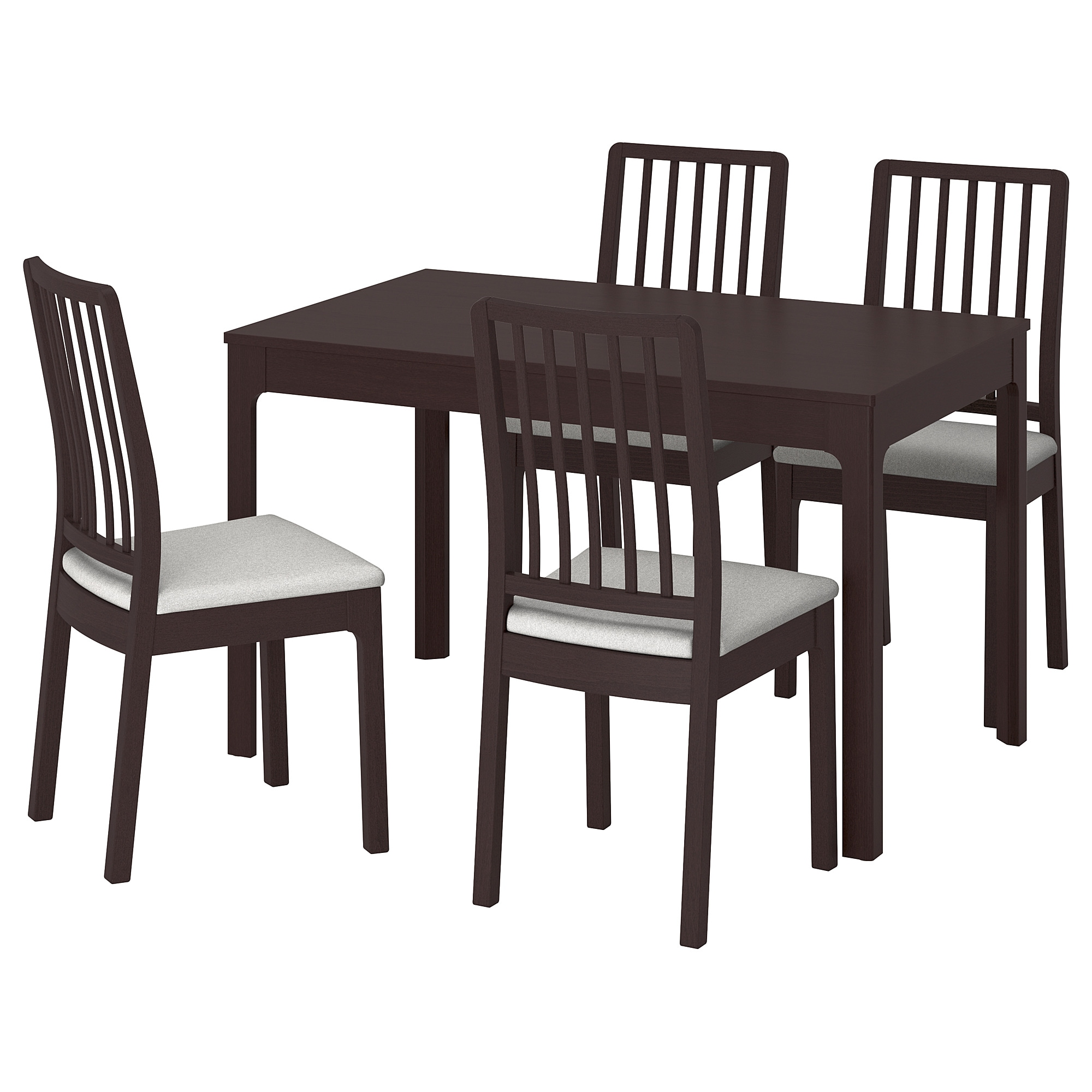 EKEDALEN / EKEDALEN Table And 4 Chairs, Dark Brown, Orrsta Light Gray Table  Min