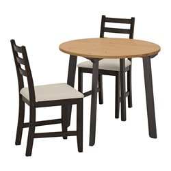 GAMLARED /  LERHAMN table and 2 chairs, light antique stain black-brown, Vittaryd beige