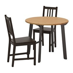 GAMLARED / STEFAN, Table and 2 chairs, light antique stain, brown-black