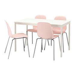 VANGSTA /  LEIFARNE table et 4 chaises, blanc, rose Longueur min. table: 120 cm Longueur max. table: 180 cm