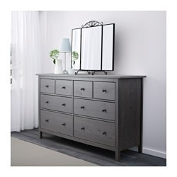 Hemnes 8 Drawer Dresser Dark Gray Stained