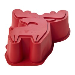 "BAKGLAD baking mold, elk-shaped red Height: 3 ¼ "" Volume: 2.1 qt Height: 8 cm Volume: 2.0 l"
