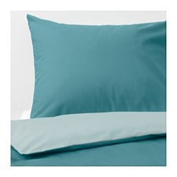 DVALA quilt cover and pillowcase, blue