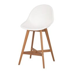 FANBYN bar stool with backrest, white