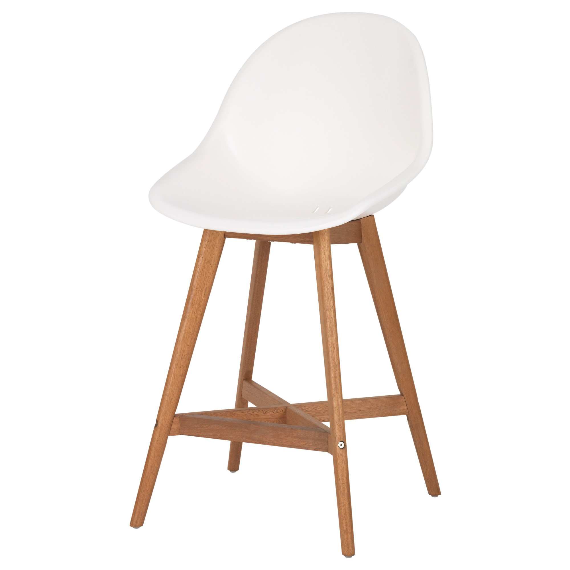 FANBYN Bar Stool With Backrest, White Tested For: 243 Lb Width: 20 1