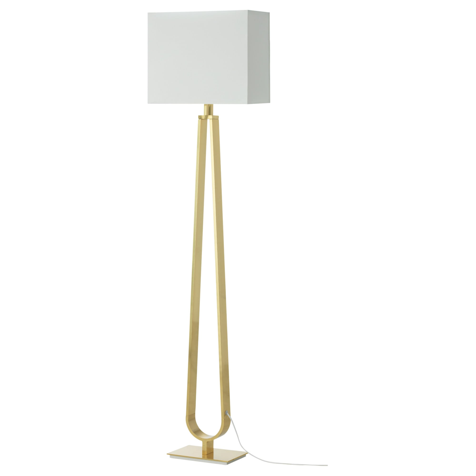 KLABB floor lamp with LED bulb, off-white, brass color Shade width: