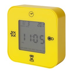 KLOCKIS clock/thermometer/alarm/timer, yellow Width: 7 cm Depth: 3 cm Height: 7 cm