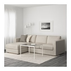 VIMLE 3-seat sofa, with chaise longue, Gunnared beige