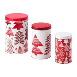 VINTER 2017 container with lid, set of 3, red