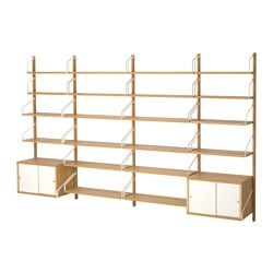 SVALNÄS wall-mounted storage combination, bamboo, white Width: 297 cm Depth: 35 cm Height: 176 cm