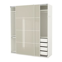 PAX Wardrobe, White Hokksund, High Gloss Hokksund Light Beige