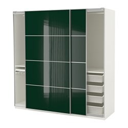 PAX wardrobe, white Hokksund, high-gloss Hokksund dark green