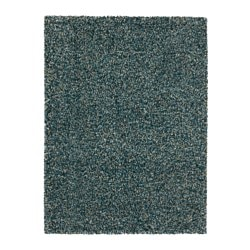 VINDUM rug, high pile, blue-green