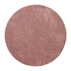 ÅDUM rug, high pile, pale pink Diameter: 130 cm Area: 1.33 m² Surface density: 3300 g/m²