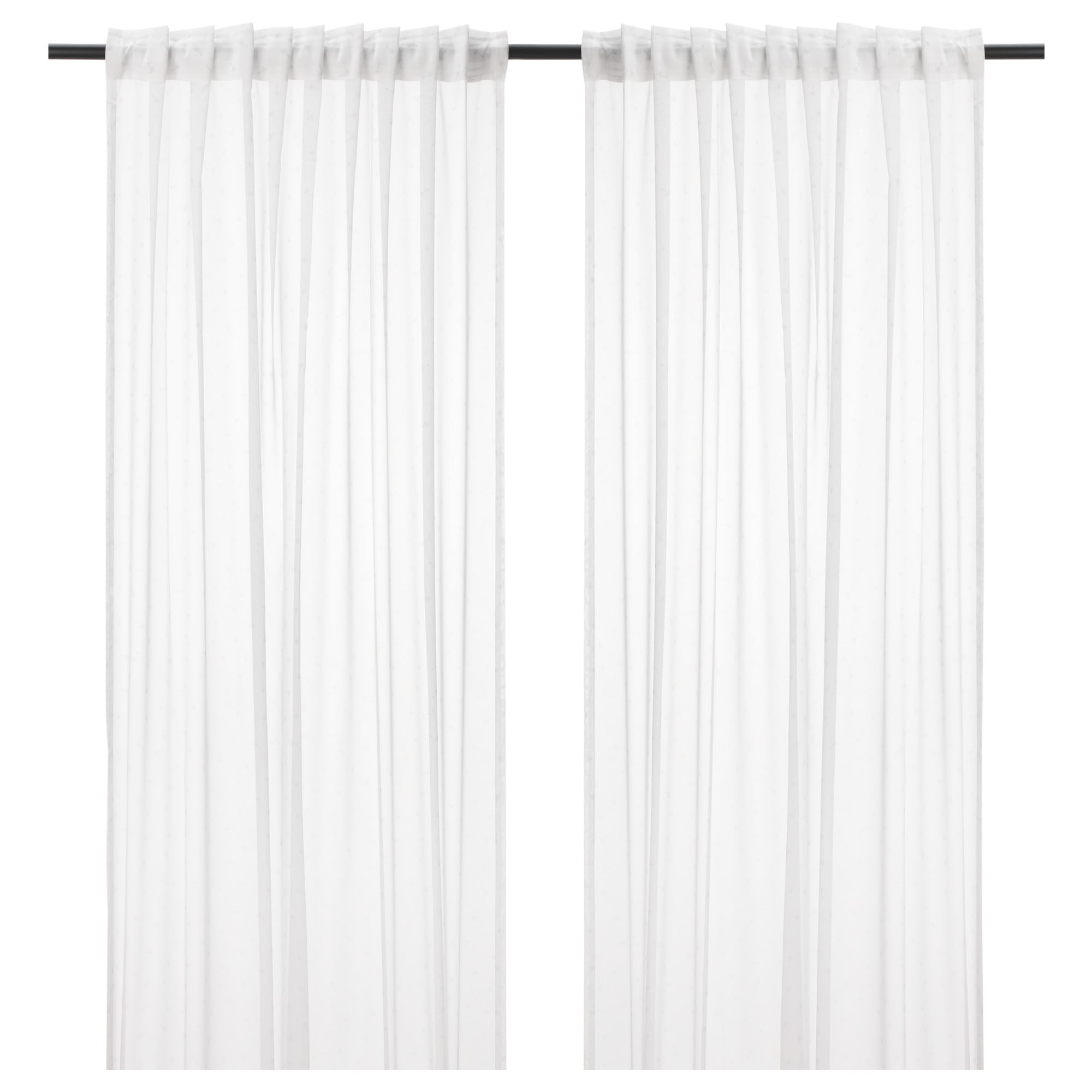 Emmylina Sheer Curtains 1 Pair White Flowers Length 98 Width