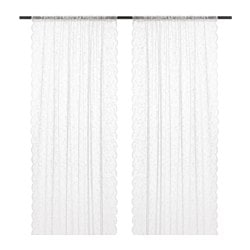 LILLYANA sheer curtains, 1 pair, white, flower