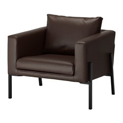 KOARP armchair, Farsta dark brown, black