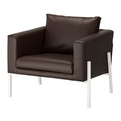 "KOARP armchair, Farsta dark brown, white Height including back cushions: 29 1/2 "" Width: 32 5/8 "" Depth: 30 3/4 "" Height including back cushions: 75 cm Width: 83 cm Depth: 78 cm"