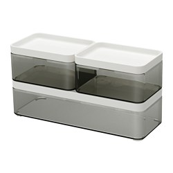BROGRUND box, set of 3, transparent grey, white