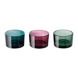 KLARHET tealight holder, multicolour Height: 5 cm Diameter: 7.5 cm Package quantity: 3 pack
