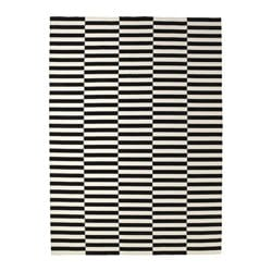 STOCKHOLM rug, flatwoven, black stripe handmade, off-white striped black/off-white Length: 350 cm Width: 250 cm Area: 8.75 m²