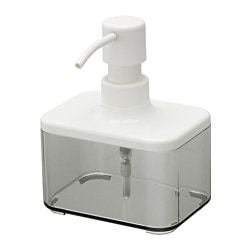 BROGRUND soap dispenser, transparent grey, white Height: 13 cm Volume: 325 ml