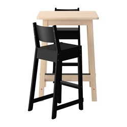 NORRÅKER /  NORRÅKER bar table and 2 bar stools, white birch, black