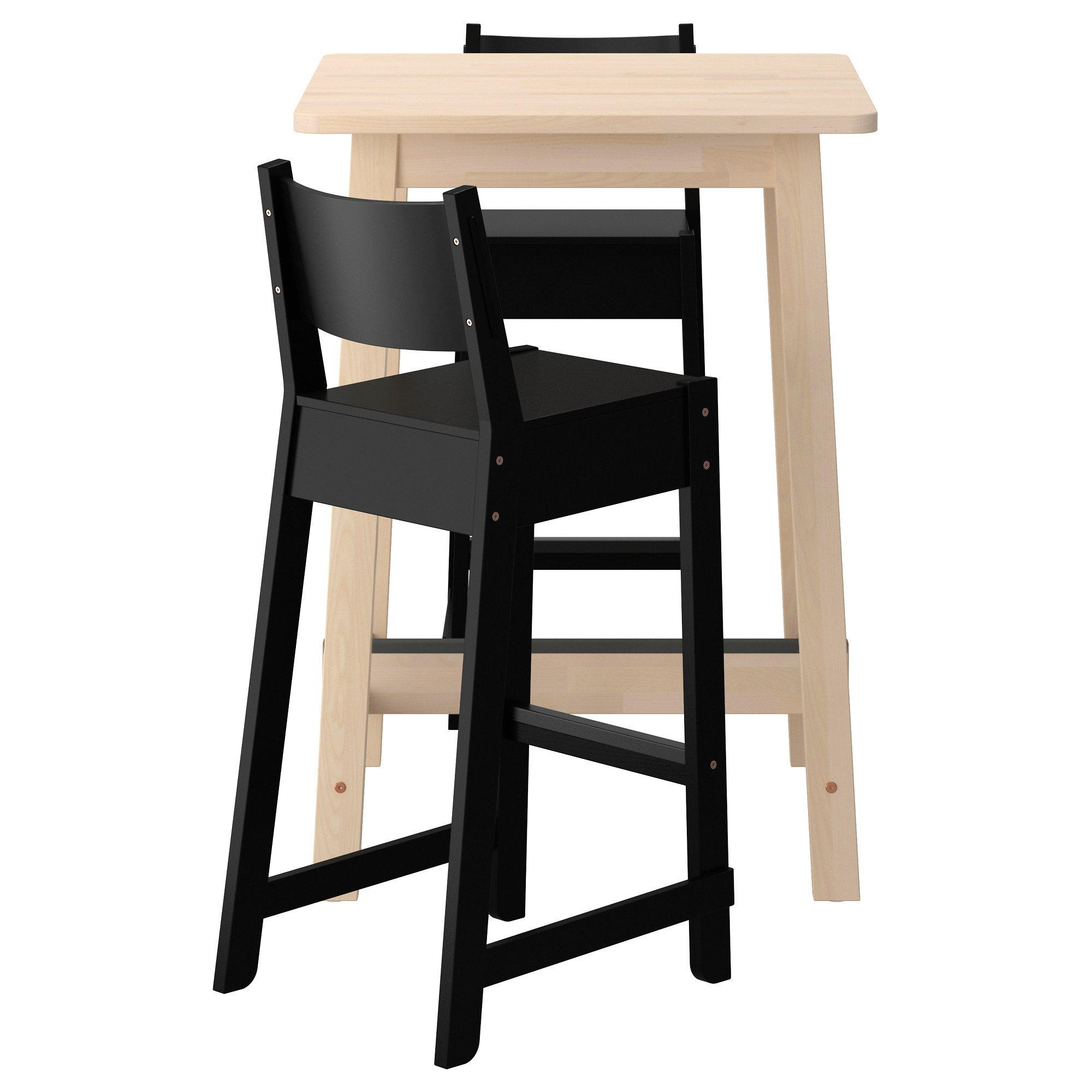 NorrÅker Bar Table And 2 Stools White Birch Black Length