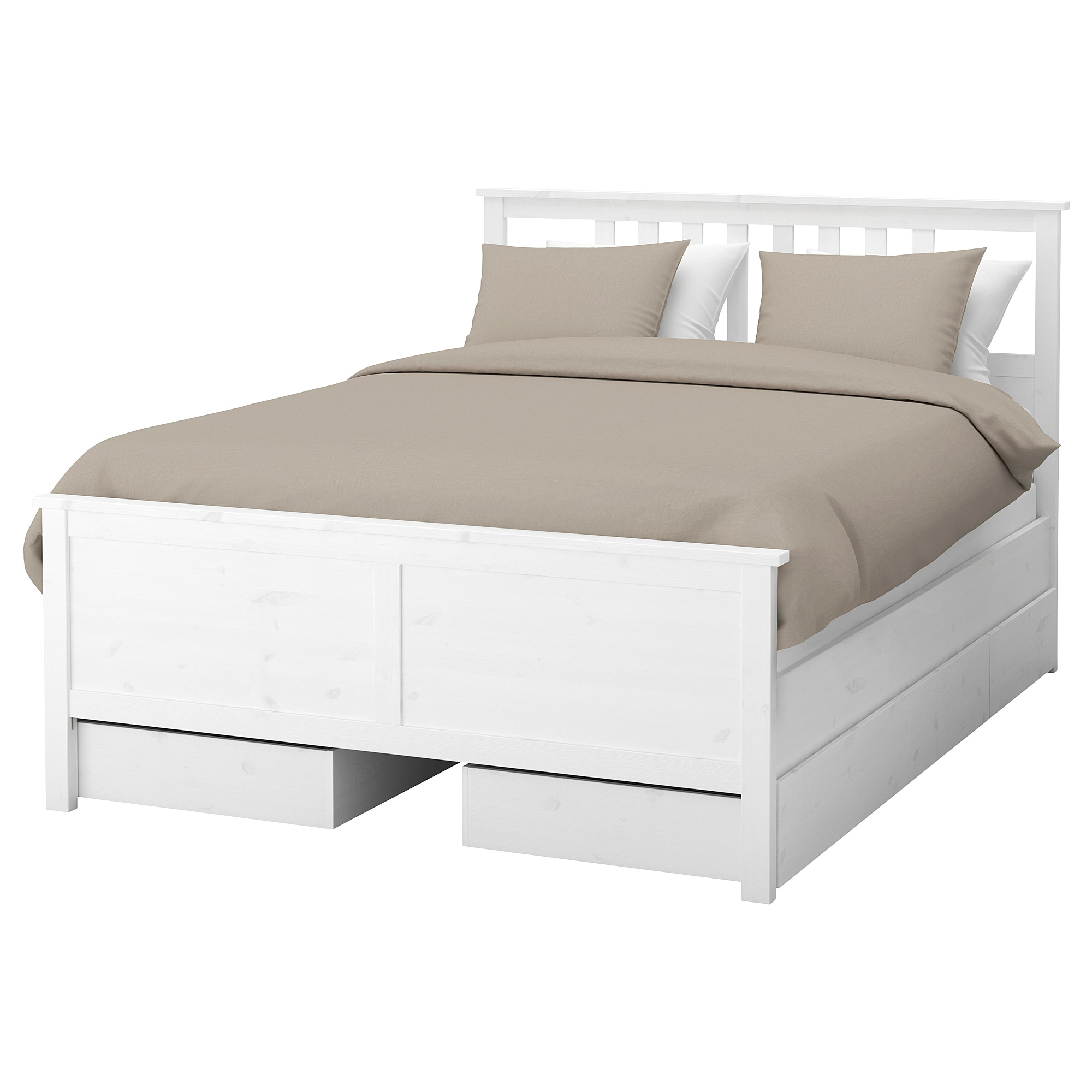 HEMNES Bed frame with 4 storage boxes King Leirsund slatted bed