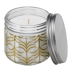 "FÖRLIKA scented candle in glass, gold, Fig tree Height: 3 ¼ "" Burning time: 30 hr Height: 8 cm Burning time: 30 hr"