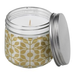 FÖRLIKA scented candle in glass, gold-colour, Crema Catalana Height: 8 cm Burning time: 30 hr